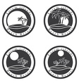 Palm trees and sun beach resort logo design vector image vector image