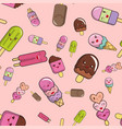 pattern from ice cream on a pink background vector image