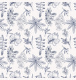 pattern hand drawn tropical exotic flowers vector image vector image