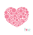 Pink heart made from many round dots Love card vector image vector image