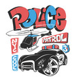 police patrol car with helicopter shirt print vector image vector image