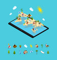 remote managing concept and elements 3d isometric vector image vector image
