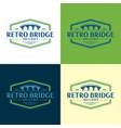 retro bridge logo vector image vector image