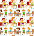 Seamless students in classroom vector image vector image