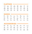 set line icons of clothes shoes and accessories vector image