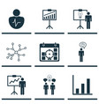 set of 9 administration icons includes bar chart vector image vector image