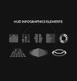 set of black and white hud infographic elements vector image