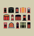 set of plastic wooden windows vector image