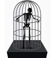 skeleton silhouette in standing in cage vector image vector image