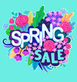 Spring sale design with colorful flowers colorful