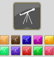 Telescope icon sign Set with eleven colored vector image vector image