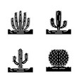 wild cacti in ground glyph icons set vector image vector image