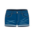 womens clothing - blue denim shorts vector image
