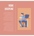 Work discipline banner with employee vector image vector image