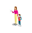 young woman with little kid vector image vector image