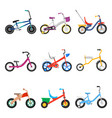 kids bicycles set vector image