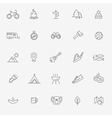 Camping Nature and Outdoor Activities icons vector image