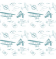 aviation pattern blue seamless monogram retro vector image vector image