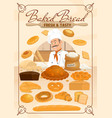 bakery food baker and bread products vector image vector image