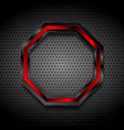 black and red octagon on perforated metallic