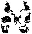 Black cat icon silhouette vector image vector image