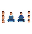 boy and girl sits and learns online on laptop man vector image vector image