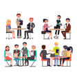 business meeting at round table among colleagues vector image vector image