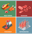 butcher shop isometric concept vector image vector image