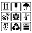 Cardboard packaging icon set vector image vector image
