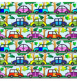 Cartoon car seamless pattern vector image
