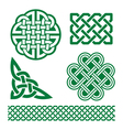Celtic green knots braids and patterns - St Patri vector image vector image