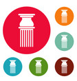 classical column icons circle set vector image