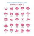 cloud service icon dusky flat color - vintage 25 vector image