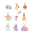 collection cute bunnies sweet rabbits vector image vector image