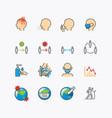 corona covid virus color icons flat line design vector image vector image