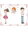 Couple Finding Love with Cupid Cartoon vector image