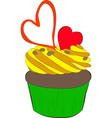 cupcake with whipped cream and hearts vector image