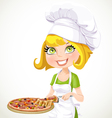 Cute blond girl chef offers a taste of pizza vector image