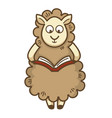 cute fluffy sheep with curly wool reads book vector image