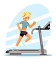 cute girl running treadmill simulator fitness vector image
