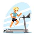 cute girl running treadmill simulator fitness vector image vector image
