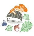 Cute hedgehog with mushrooms vector image