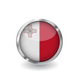 flag of malta button with metal frame and shadow vector image vector image