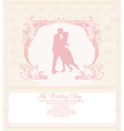 Floral greeting card with silhouette of romantic vector image vector image