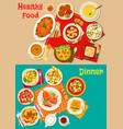 fresh salad soup and meat dishes icon set design vector image vector image