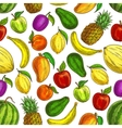 Fruit seamless pattern of tropical fruits vector image vector image
