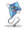 geek face blue kite character cartoon vector image vector image