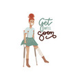 get well soon card - young injured woman with a vector image