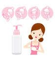 girl with packaging and cleaning face icons vector image