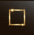 glowing square frame with glitter sparkle vector image vector image